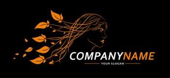 Vrouwengezicht Logo Abstract Lines Design Creatief vectorpictogram Vector illustratie Royalty-vrije Stock Afbeelding