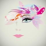 Vrouwengezicht met ontwerpelementen, manierconcept Vector vector illustratie