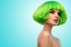 Vrouwenhaar Het Portret van de Schoonheid van de manier Haarbesnoeiing Het mooie Donkerbruine Meisje met kapsel en maakt omhoog o Royalty-vrije Stock Afbeeldingen