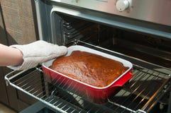 Vrouwenhand die hete pastei van de oven nemen Stock Foto's