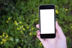 Vrouwenhand die mobiele telefoon op tuinachtergrond houden stock foto