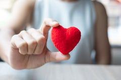 Vrouwenhand die Rode hartvorm in bureau houden Liefde, de Gelukkige vakantie van de Valentijnskaartendag en gezond Verzekeringsco stock foto