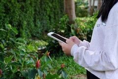 Vrouwenhand die tablet op groene parkachtergrond gebruiken royalty-vrije stock fotografie