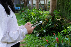 Vrouwenhand die tablet op groene parkachtergrond gebruiken stock foto