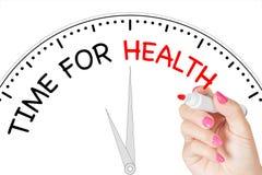 Vrouwenhand het Schrijven Tijd aan Gezondheidsbericht met Rode Teller op Tra Royalty-vrije Stock Foto