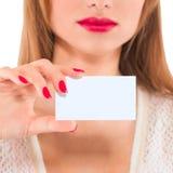 Vrouwenhand op witte achtergrond wordt geïsoleerd die Stock Afbeelding