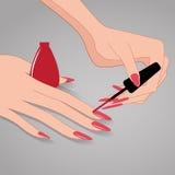 Vrouwenhanden, die Nagellak, Vectorillustratie toepassen Stock Foto