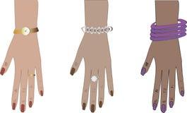 Vrouwenhanden met toebehoren Stock Illustratie