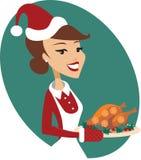 Vrouwenholding geroosterde Kerstmis Turkije Stock Fotografie