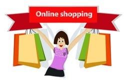 Vrouwenholding het winkelen de zak en houdt een online het winkelen kenteken, glimlacht en heeft op het Web winkelen en mobiele p stock illustratie