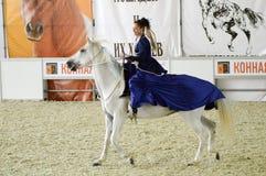 Vrouwenjockey in een donkerblauwe kleding die een wit paard berijden Tijdens de show Internationale Ruitertentoonstelling Moskou Royalty-vrije Stock Foto's