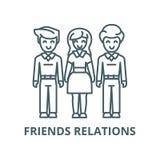 Vrouwenkeus, vrienden, man pictogram van de relaties het vectorlijn, lineair concept, overzichtsteken, symbool vector illustratie