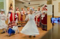 Vrouwenkoor die traditionele Lipovans-liederen in Deltadunarii zingen Royalty-vrije Stock Afbeeldingen