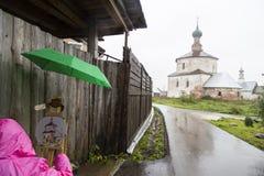 Vrouwenkunstenaar het schilderen in suzdal, Russische federatie royalty-vrije stock afbeelding