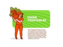 Vrouwenlandbouwer met mand groenten en vruchten royalty-vrije illustratie