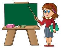 Vrouwenleraar die zich door schoolboard bevinden royalty-vrije illustratie