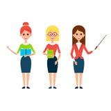 Vrouwenleraar Flat Characters stock illustratie