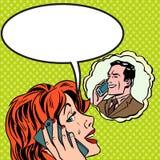 Vrouwenman grappige het Pop-artwijnoogst van de telefoonbespreking Stock Foto