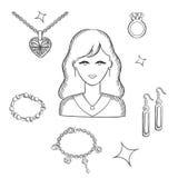 Vrouwenmanier met juwelen en goud Royalty-vrije Stock Fotografie