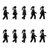 Vrouwenmensen diverse het lopen positie Het cijfer van de houdingsstok Het vector bevindende pictogram van het het symboolteken v vector illustratie