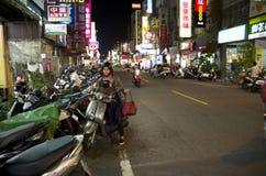 Vrouwenmotor cycler Stock Foto