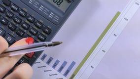 Vrouwenonderneemster die calculator gebruiken Secretaressehanden die met calculator werken stock footage