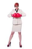 Vrouwenonderneemster met bokshandschoenen Stock Foto's