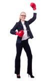 Vrouwenonderneemster met bokshandschoenen Royalty-vrije Stock Afbeeldingen