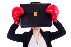 Vrouwenonderneemster met bokshandschoenen Royalty-vrije Stock Foto's