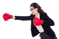 Vrouwenonderneemster met bokshandschoenen Stock Fotografie