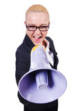 Vrouwenonderneemster met luidspreker Royalty-vrije Stock Foto