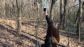 Vrouwenonderzoeken naar telefoonsignaal in het hout stock video