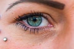 Vrouwenoog in groene en blauwe kleur stock foto