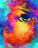 Vrouwenoog op kosmische achtergrond Het schilderen en grafisch ontwerp Brandeffect Royalty-vrije Stock Afbeelding