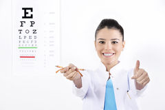 Vrouwenopticien of optometrist royalty-vrije stock foto