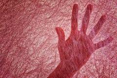 Vrouwenpalm voor een dunne Bourgondië gevoelde stof die op een spinneweb lijken arachnophobia Zoeken gebruikend waarneming royalty-vrije stock afbeeldingen