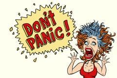 Vrouwenpanics en de schreeuwen in verschrikking stock illustratie