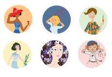 Vrouwenpictogrammen met verschillende stemming en beroepen worden geplaatst dat Stock Foto's