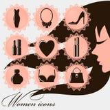 Vrouwenpictogrammen - 9 ronde mooie vrouwenpictogrammen met kant royalty-vrije stock foto's