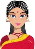 Vrouwenportret Mooie Indiër Stock Foto