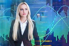 Vrouwenprogrammeur Code en grafieken royalty-vrije stock foto