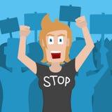 Vrouwenprotesteerder en activist die een t-shirt dragen die EINDE zegt Vector illustratie stock illustratie
