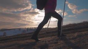 Vrouwenreiziger die met Rugzak in Bergen wandelen Silhouetwandelaar die in de bergen, de vrijheid en het geluk lopen stock footage