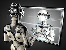 Vrouwenrobot van staal en wit plastiek Stock Afbeeldingen