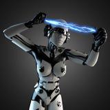 Vrouwenrobot van staal en wit plastiek met bliksem Stock Fotografie