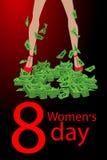 Vrouwens Dag voet in bundels van geld royalty-vrije illustratie