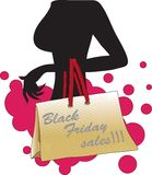 Vrouwensilhouet met Black Friday-verkoopzak Royalty-vrije Stock Foto