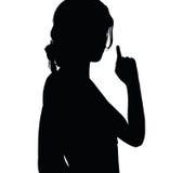 vrouwensilhouet met de vinger die van het handgebaar naar omhoog richten Royalty-vrije Stock Foto's