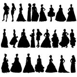 Vrouwensilhouetten in diverse kleding. Vectorillustratie Stock Fotografie