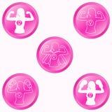 Vrouwensterkte om roze geplaatste knopen vector illustratie